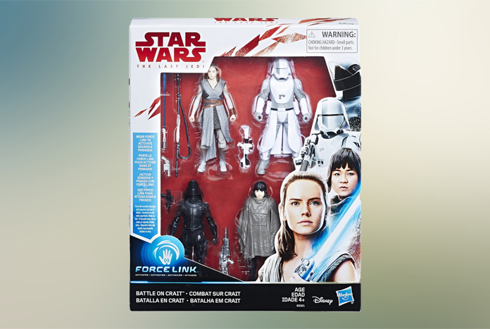 "Star Wars Battle on Crait 3.75/"" Figure 4-Pack Force Link Sounds Phrases Kids Fun"