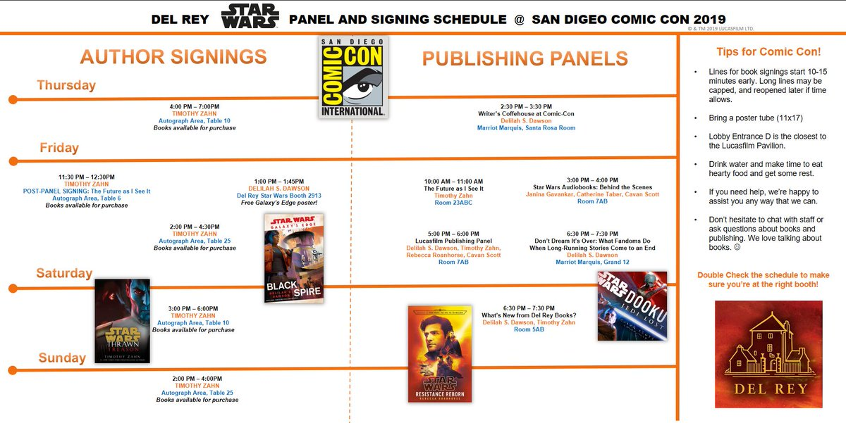 SDCC 2019: Del Rey Panel & Author Signing Schedule - Jedi News